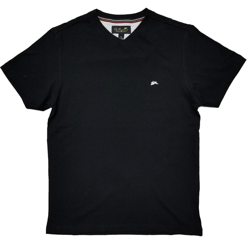 Cameron Plain V Neck T-Shirt (Black) | A. Tiziano