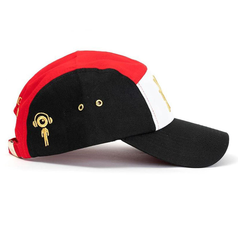 Tri 5 Panel Hat (Black/Red) Side | Triangulo Swag