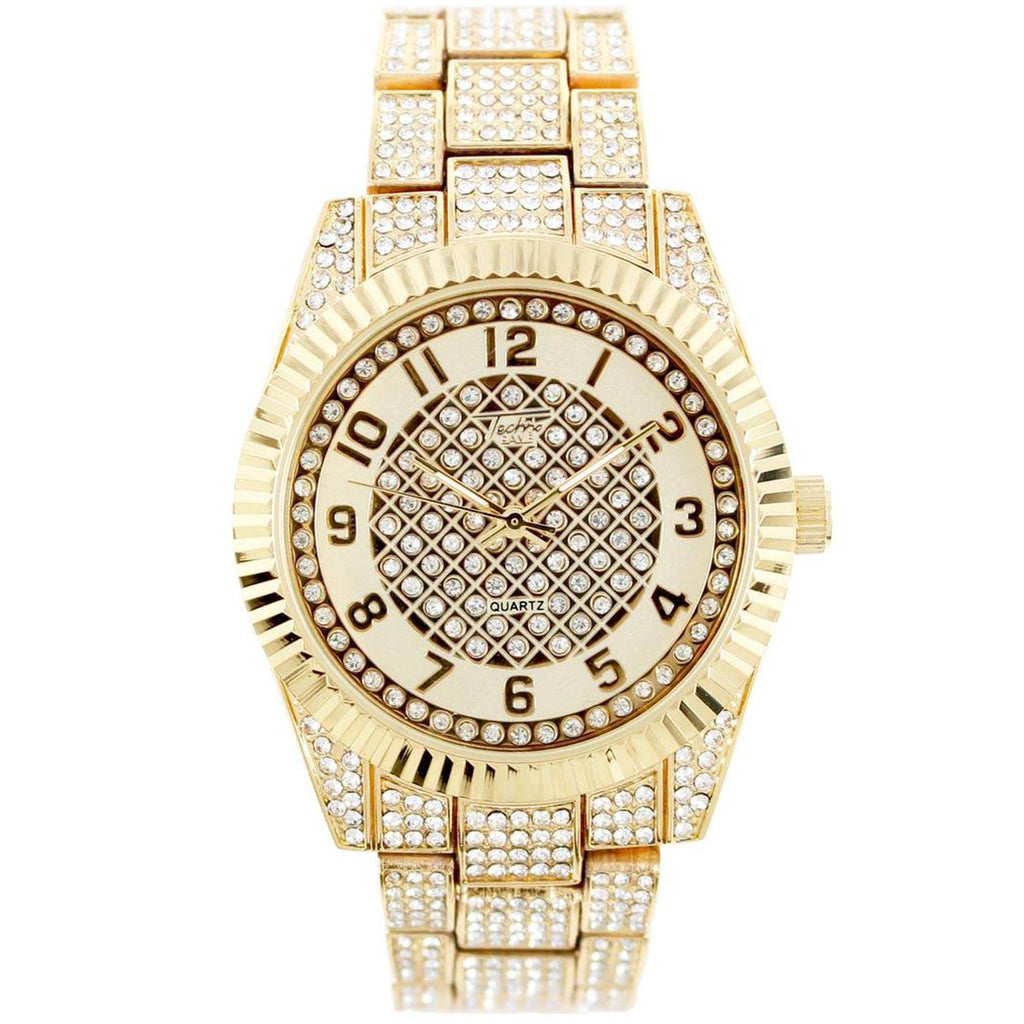 Ice Caliber Watch (Gold) | Techno Pave