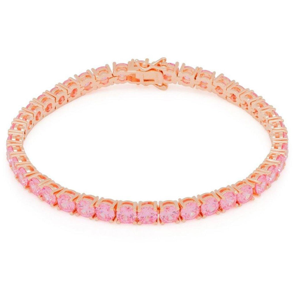 5mm Pink Single Row Tennis Bracelet | King Ice