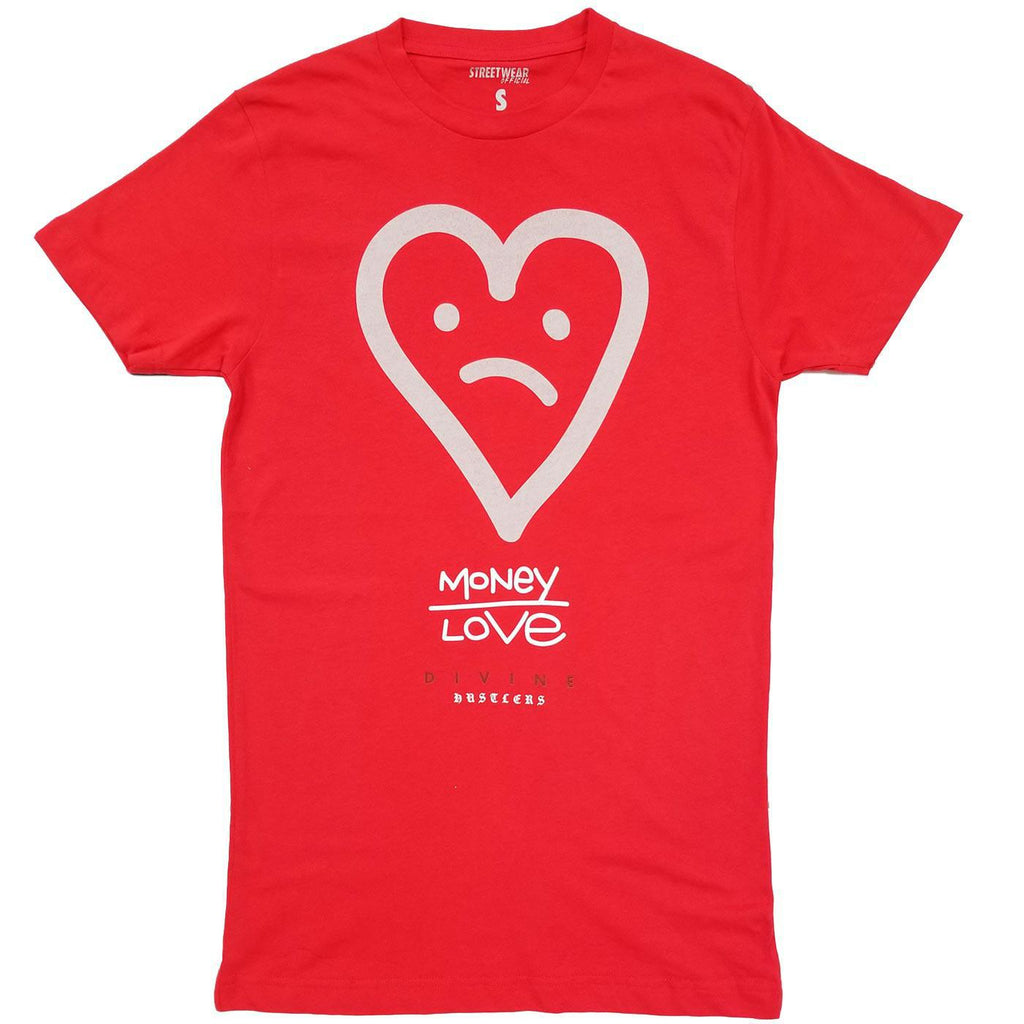 Brown Money Over Love Tee (Red)