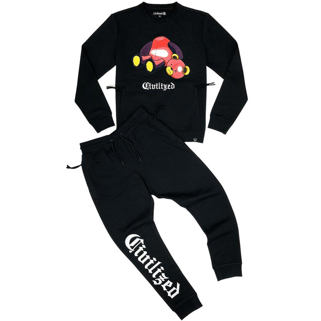 Bear Crewneck + Jogger Set (Black)