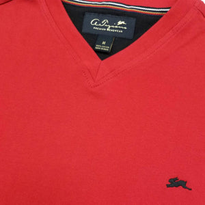 Cameron Plain V Neck T-Shirt (Red) Details | A. Tiziano