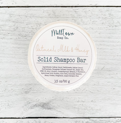 Solid Shampoo Bar- Oatmeal, Milk & Honey