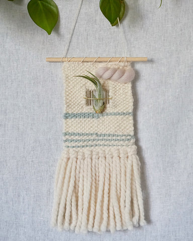 Mini Woven Wall Hanging with Negative Space and Air Plant