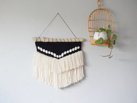Boho Black & White Woven Wall Hanging