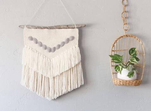 Medium Ivory & Grey Woven Wall Hanging
