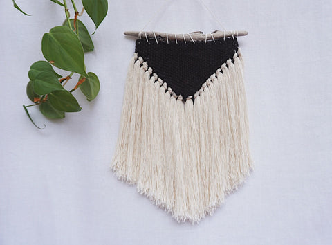 Mini Boho Black Triangle Wall Hanging