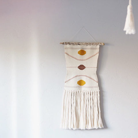 Vintage Inspired Ivory Weaving with Geometric Accents
