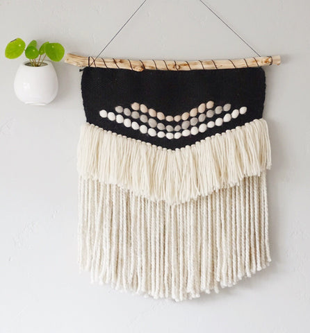 Black & White with Neutrals Woven Wall Hanging