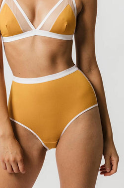 Lux High Waist Brief in Mustard