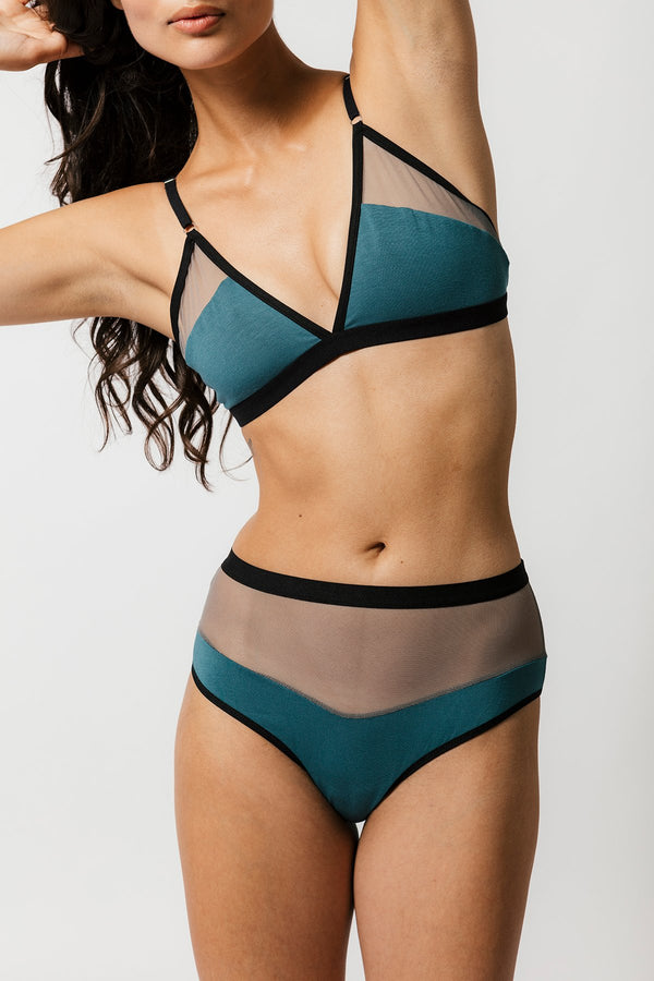 Logan High Cut Bikini in Teal