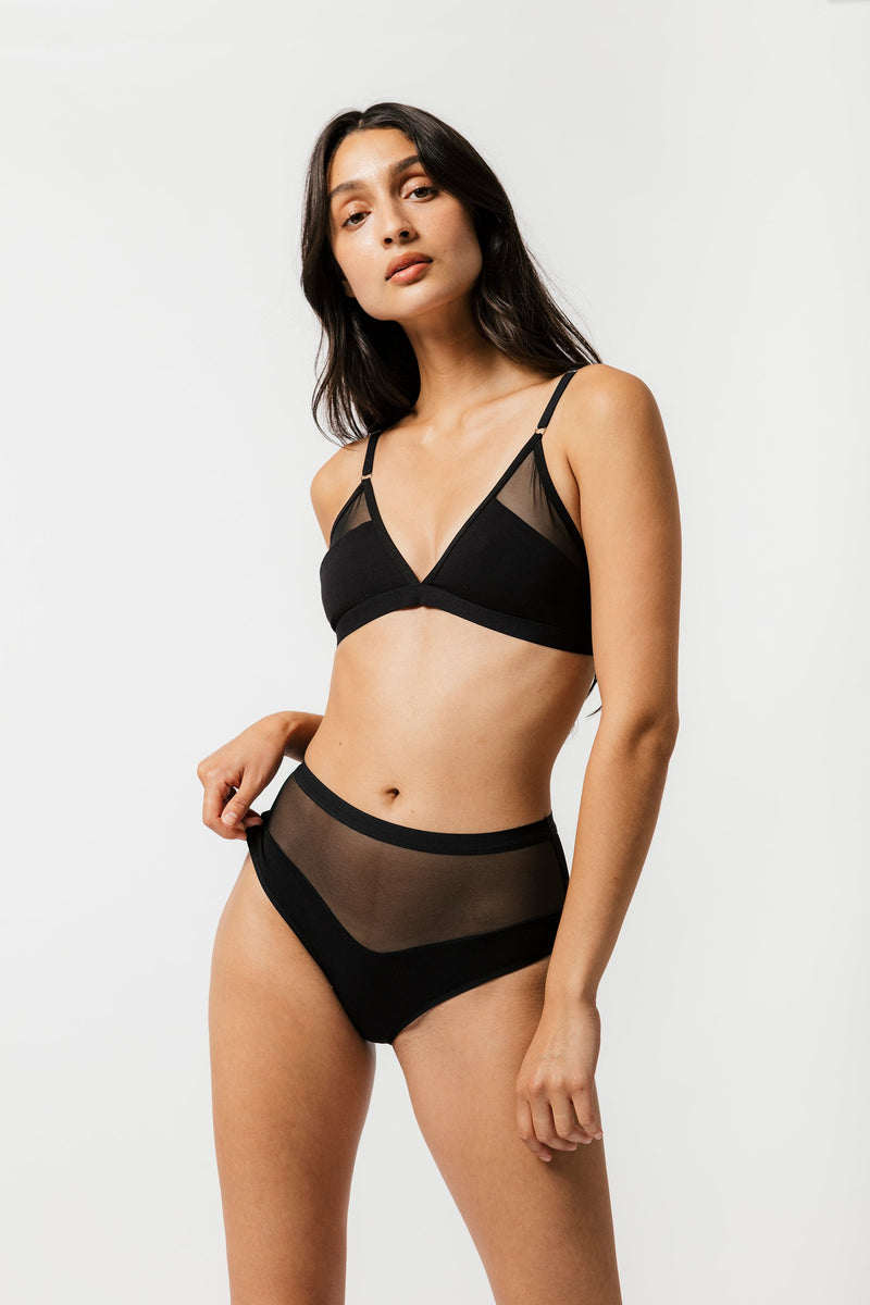 Logan High Cut Bikini in Black