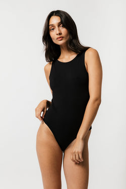 Backless Thong Bodysuit in Black