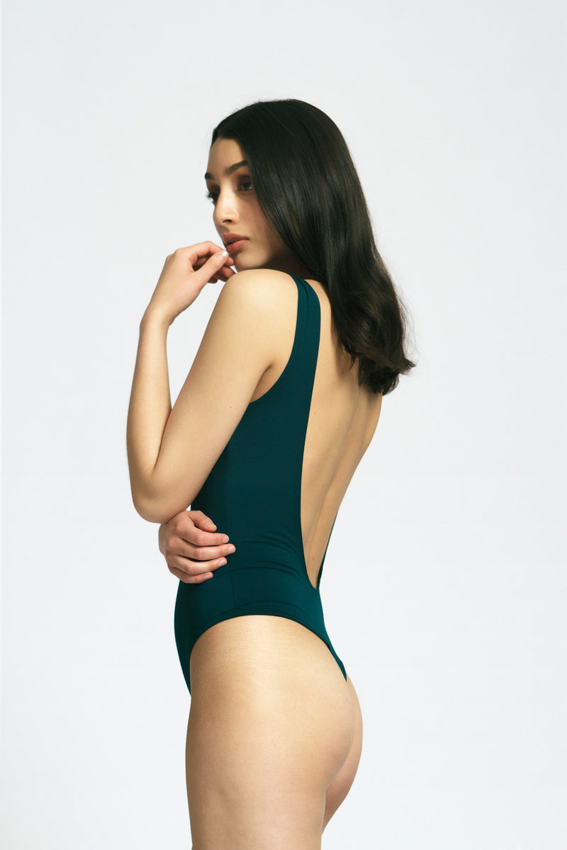 Backless Thong Bodysuit in Emerald