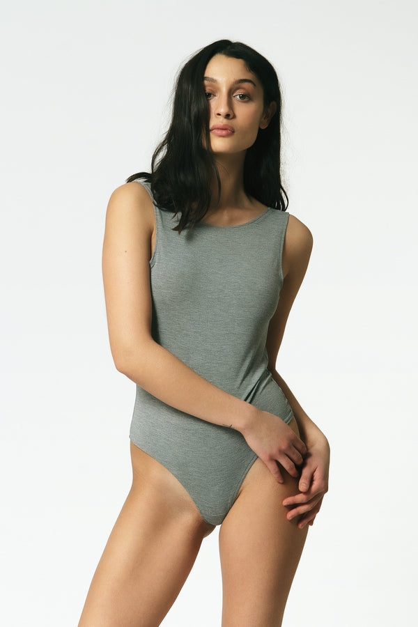 Backless Thong Bodysuit in Grey