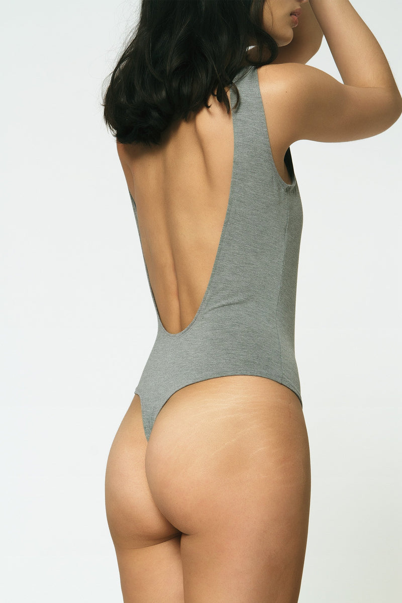 Backless Thong Bodysuit in White Sample