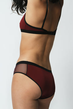 Mesh Panel Bikini in Maroon Sample