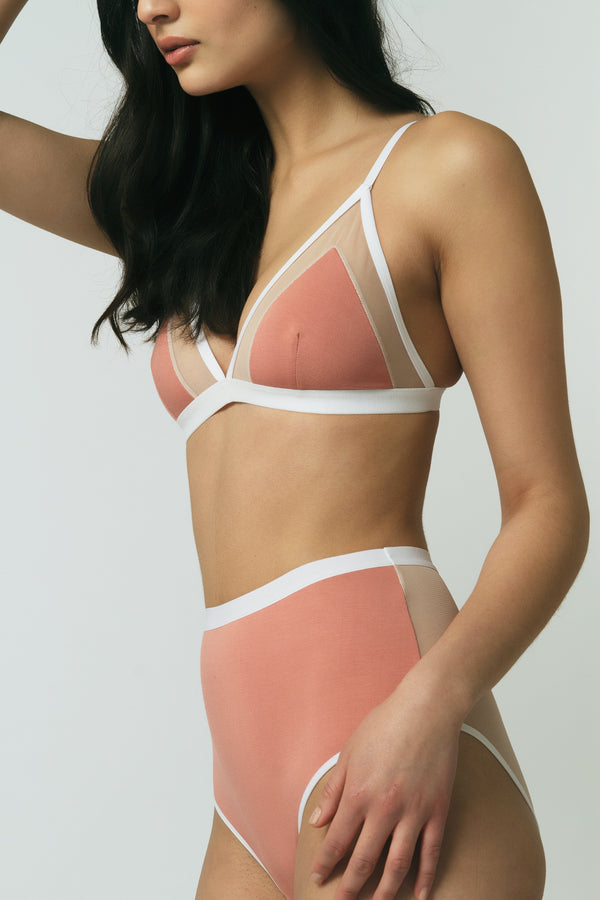 Contrast Bra in Rose