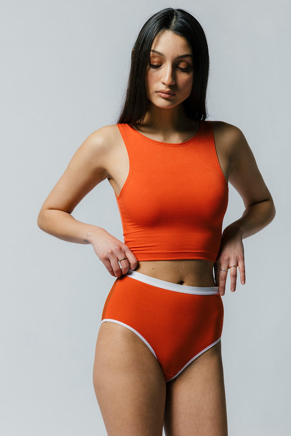 Lux High Waist Brief in Orange