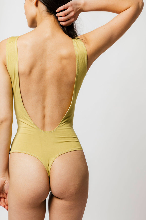 Backless Thong Bodysuit in Matcha