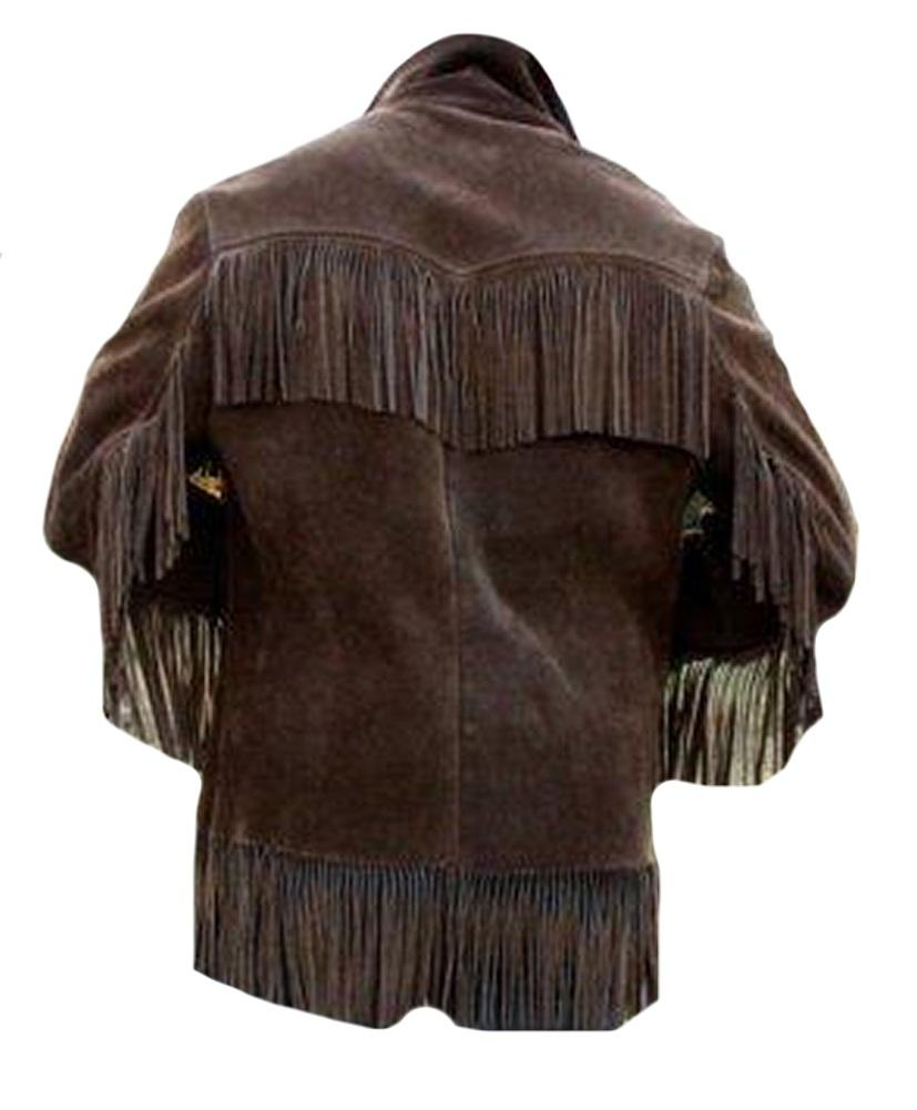 Leatheray Men S Western Cowboy Brown Suede Leather Jacket With