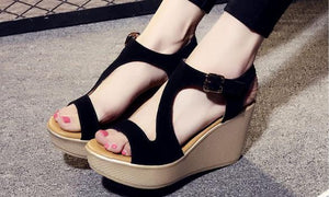 Yoona Leather Wedge Sandals