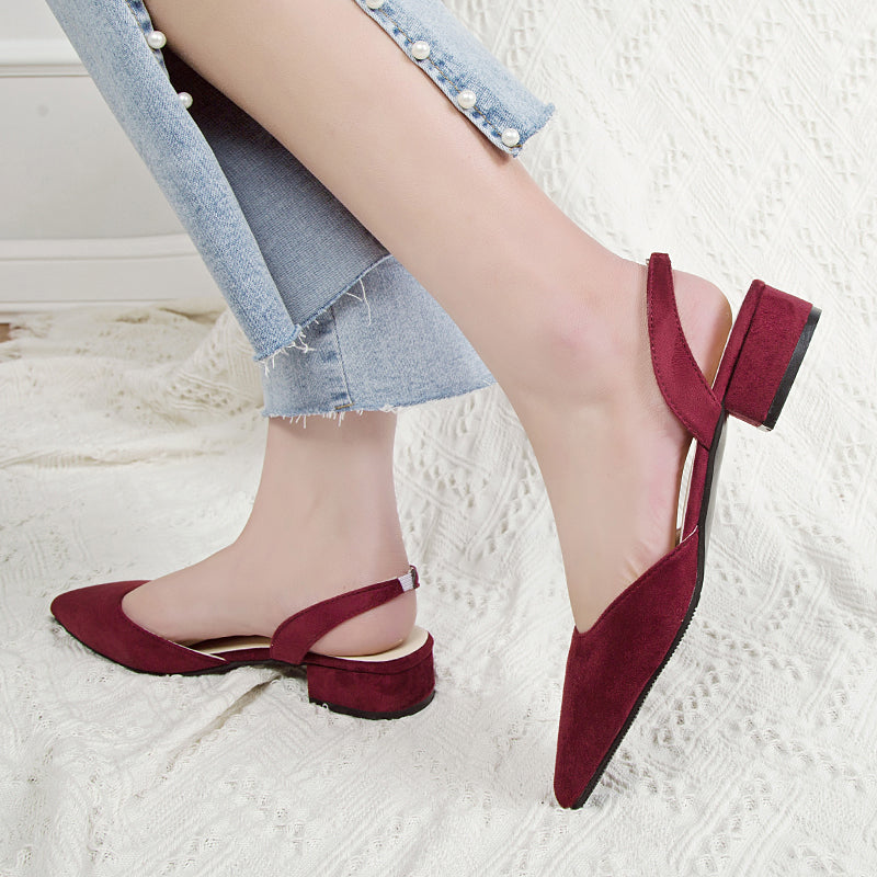 Hei Ryung Flock Pointed Sandals
