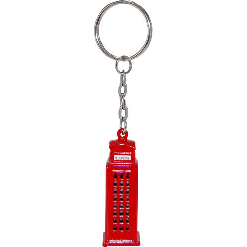 Bright Red 3D London Telephone Booth key chain