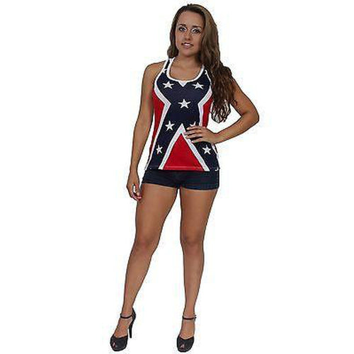 Women's Juniors Confederate Flag Tank Top Racer Back Rebel Redneck Pride