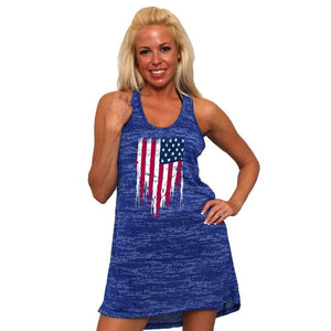 Women's USA Flag Distressed Burnout Tank Dress Swimwear Cover-up