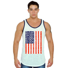 Men's USA Flag Tank Top Jumbo Distressed Red White & Blue WHITE