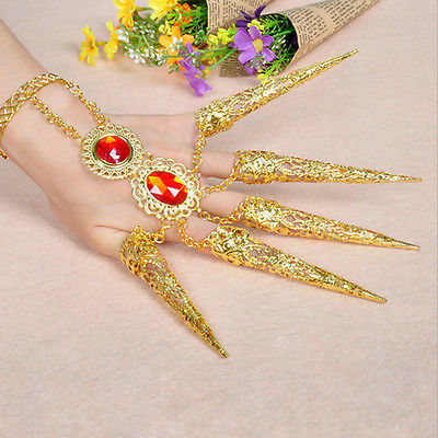 1pc Indian Thai Finger Golden Jewelry Belly Dance Dancing Finger Cot Costume