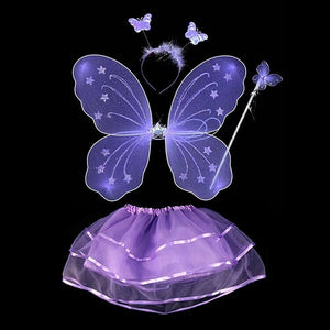 4Pcs Fairy Princess Kids Costume Sets Butterfly Wings Wand Headband Tutu Skirt