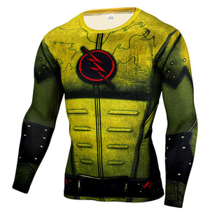 Cosplay Costume Reverse Flash 3D Printed T-shirts Men Raglan Long Sleeve Compression Shirt Fitness Clothing Male Tops Halloween