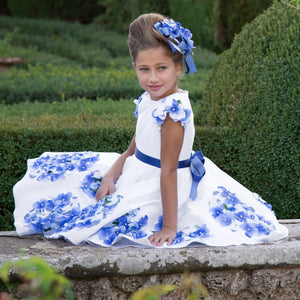 Girls Party and Wedding Dresses Summer 2017 Brand Kids Clothing Princess Dress with Sashes Floral Print Vestido Children Costume