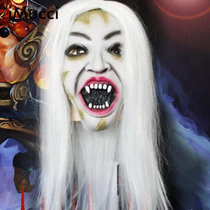 iMucci Women Horror Grimace Hair Mask White Witch Horror Mask Halloween Fool's Day Latex Masks Cosplay Face Men