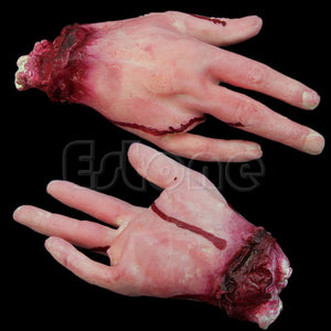 HALLOWEEN FAKE BLOODY HAND LATEX 4 FINGER HORROR PROP DECOR TRICK TOY NOBLE