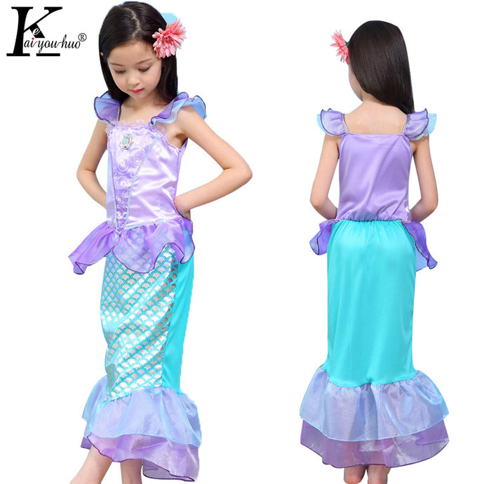 2017 New Baby Girls Dress Summer Short Sleeve Children Clothes Cartoon Mermaid Princess Dresses For Girls Costumes Kids Clothing
