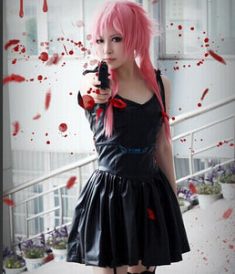 New Anime Future Diary 2nd Mirai Nikki Yuno Gasai Black Dress Costume Cosplay