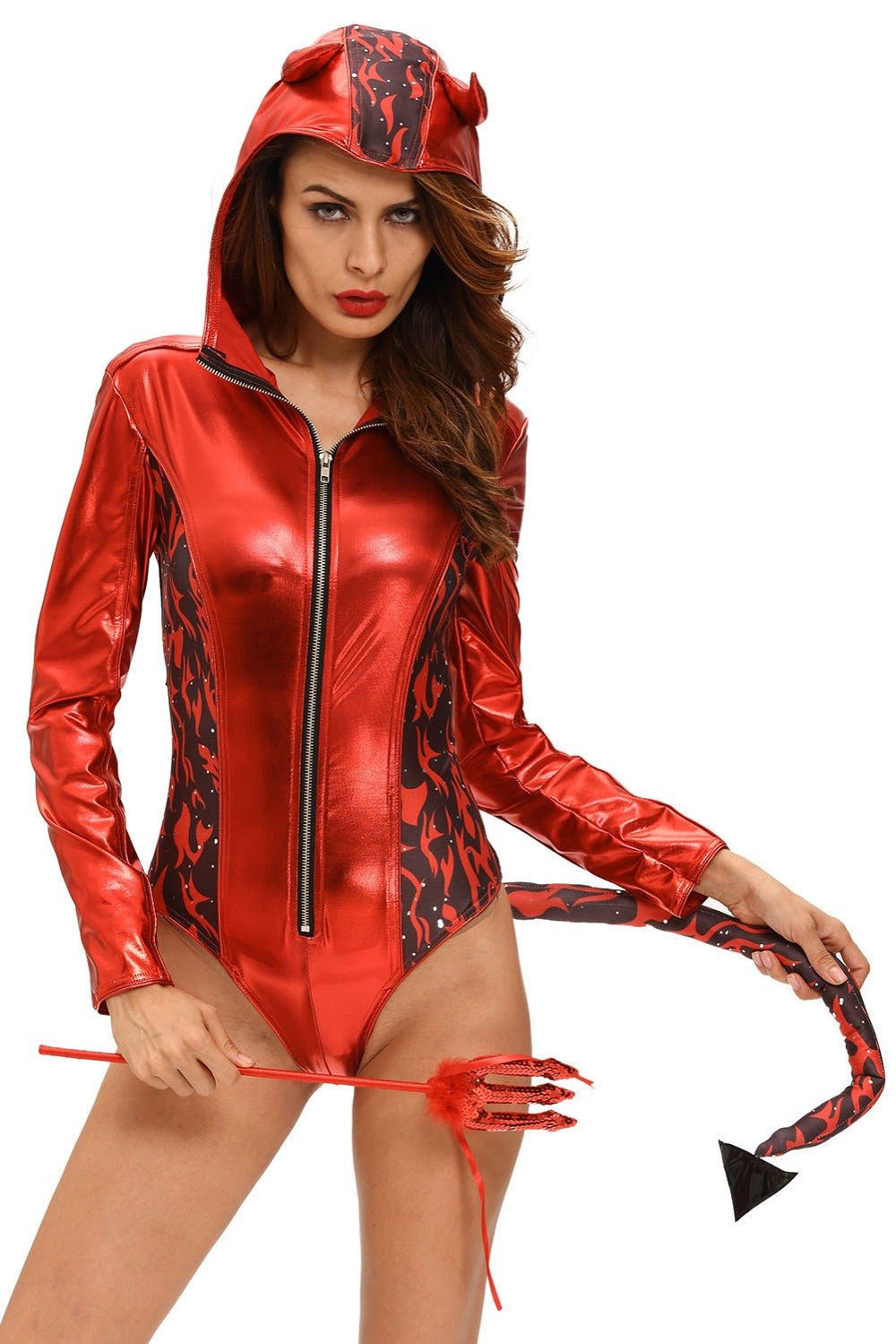 Halloween Cosplay 2016 Hotting Sexual Red Hot Devilish Hooded Romper Costume LC89015 Halloween Cosplay Fantasia Adult