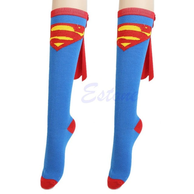HOT Unisex Super Hero Superman Batman Knee High With Cape Soccer Cosplay Socks