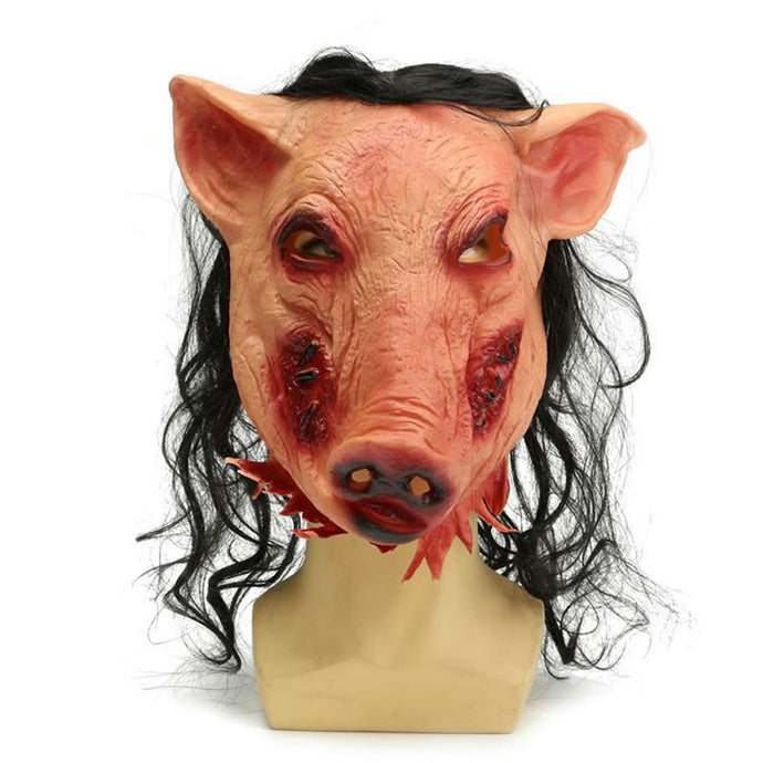 Hot Halloween Pig Head Mask With Hair Adult Saw Scary Cosplay Fancy Dress Costume