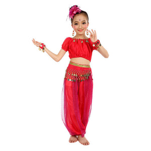 Chiffon Belly Dance Clothes 2017 Hot Sale Handmade Girl Costumes Kids Belly Dancing Beading Egypt Dance Cloth