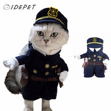 Fashion Pet Cat Clothing Police Uniform Puppy Coat Policeman With Business Attire Hat Costume For Cat Clothes 20