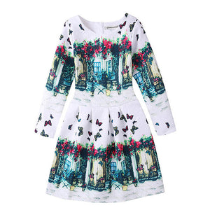 Autumn Girls Dress Long Sleeve Clothes Vestidos Children Clothing Print Butterfly Kids Dresses For Girls Costume Toddler Dress