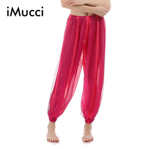 iMucci  Red Rose Yellow Lightspot Child Girl Belly Dance Long Pants 120D Chiffon Kids Bellydance Costume Trousers 111 Pant