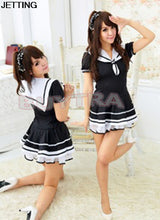 2017 Students Uniform Lace Dress New Cute Navy Women Dress Sexy Japanese School Girl Sailor Uniform Maid Cosplay Costume