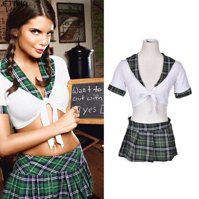 new 2pcs Set Sexy Students School Girl Uniform Role Play Costumes Women Girl Plaid Cosplay Clothing Adults Halloween Clothes