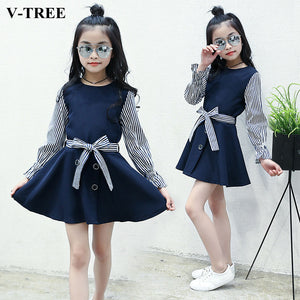 V-TREE Girls Dress Striped Dresses For Girls Long Sleeve Kids Princess Dress Roupas Infantis Menina School Girl Costume